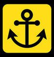 yellow black information sign - anchor icon vector image vector image