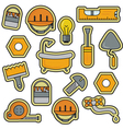 House Repair Renovation Line Art Thin Icons vector image