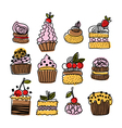 set of hand drawn doodle cakes desserts vector image