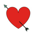 heart cartoon with arrow valentines day related vector image
