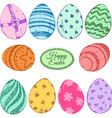 Set of colorful Easter eggs icons vector image