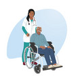 a girl nurse rolls a wheelchair with a patient vector image vector image
