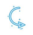 arrow circle right turn icon design vector image vector image
