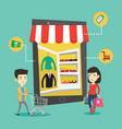 asian people doing shopping online vector image