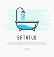 bathtub and shower with running water vector image