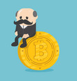 business sitting on coins bitcoin critical vector image vector image