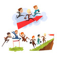 businessmen overcoming obstacles together to vector image