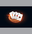 casino playing card with golden light streak vector image