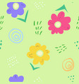 cute simple kids doodle flowers on green pattern vector image vector image