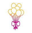 degraded line funny balloons style with ribbon bow vector image vector image