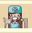 dentist girl and broken tooth and tools dental vector image vector image