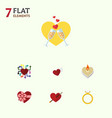 flat icon amour set of wings emotion celebration vector image vector image