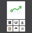 flat icon gain set of bank counter strongbox and vector image vector image