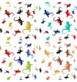 four colorful seamless patterns with lizards vector image