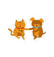 funny smiling dog and cat holding hands cute vector image