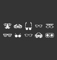 glasses icon set grey vector image
