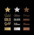 gold silver and bronze letter set vector image vector image