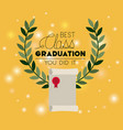 graduation card with diploma vector image vector image