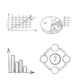 hand draw doodle dot bar pie charts diagrams and vector image