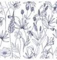 hand drawn monochrome floral seamless pattern vector image