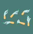 hand in sterile glove holds syringe set vector image vector image