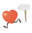 heart running and direction sign vector image vector image