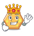 king hexagon mascot cartoon style vector image