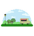 landscape of a park with a food truck vector image