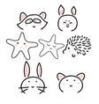 Line animal icons with cute faces vector image vector image