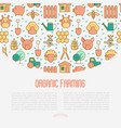 organic farming concept with thin line icons vector image vector image
