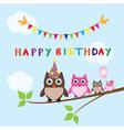 Owl family happy birthday vector image