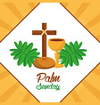palm sunday cross bread cup frond poster vector image vector image