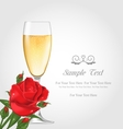 Postcard with Glass of Champagne and Rose vector image vector image