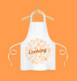 realistic detailed 3d white kitchen apron with vector image