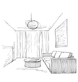 Room interior sketch Hand drawn sofa and chair vector image