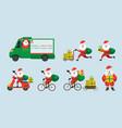santa claus delivery service concept vector image vector image