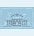school building - modern line design style vector image