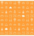 Seamless line kitchen icons orange background vector image vector image