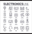 set electronics gadgets thin line icons vector image