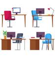 set empty office workplace interior design vector image vector image