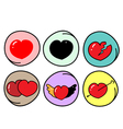 Set of Different Heart Symbols on Round Background vector image