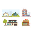 set of different styles residential houses city vector image