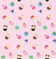 Sweet pink cupcake seamless pattern vector image vector image