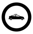 taxi black icon in circle vector image