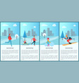 wintertime collection and city vector image vector image