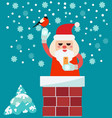 christmas card with santa claus in chimney vector image