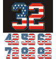 set numbers textured american flags vector image