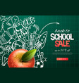 back to school sale template realistic red apple vector image vector image