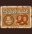 bakehouse rusty metal plate bakery shop ad vector image vector image