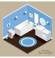 Bathroom 3D interior Blue background vector image vector image